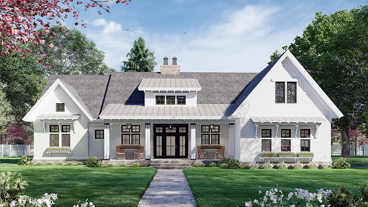 Farmhouse House Plan 41910 with 3 Beds, 3 Baths, 2 Car Garage Elevation