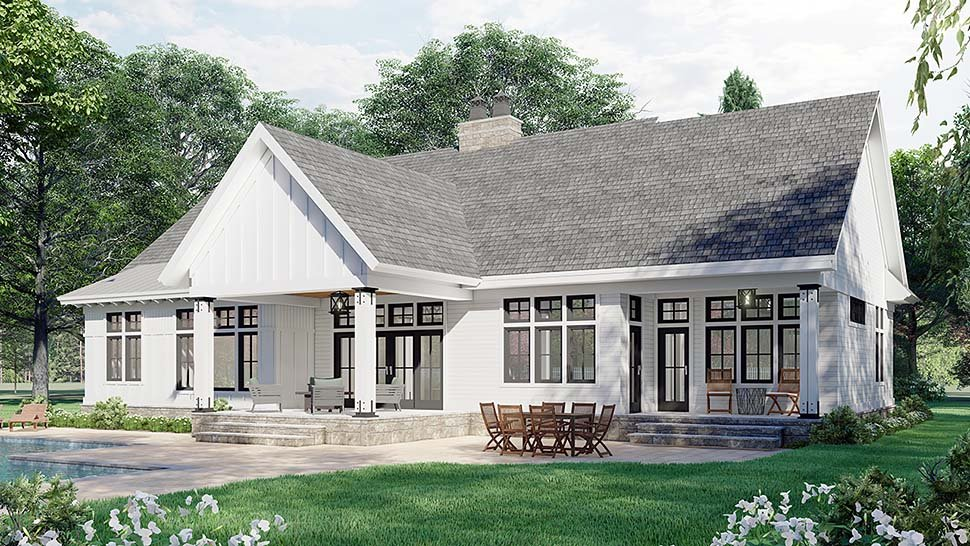 Farmhouse House Plan 41910 with 3 Beds, 3 Baths, 2 Car Garage Picture 4