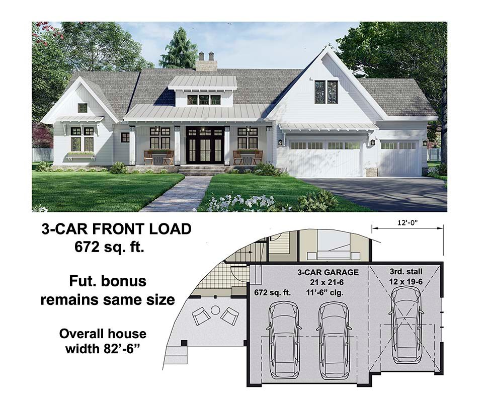 Farmhouse House Plan 41910 with 3 Beds, 3 Baths, 2 Car Garage Picture 6
