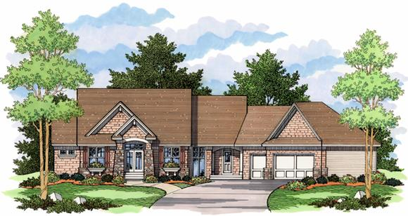 European, One-Story, Ranch, Traditional House Plan 42015 with 4 Beds, 3 Baths, 3 Car Garage Elevation