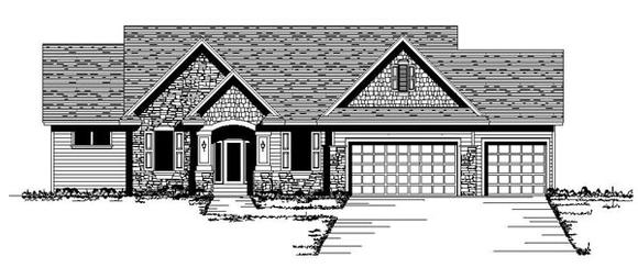 Craftsman, One-Story, Traditional, Tudor House Plan 42101 with 3 Beds, 2 Baths, 3 Car Garage Elevation