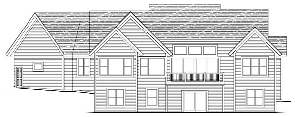Craftsman, Traditional House Plan 42498 with 4 Beds, 4 Baths, 3 Car Garage Rear Elevation