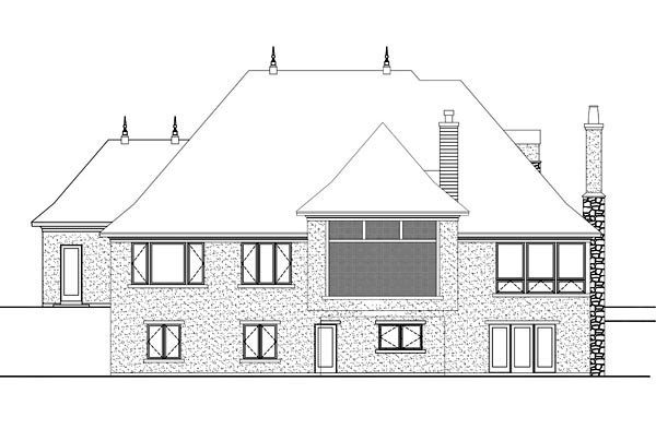House Plan 42645 with 2 Beds, 3 Baths, 3 Car Garage Rear Elevation