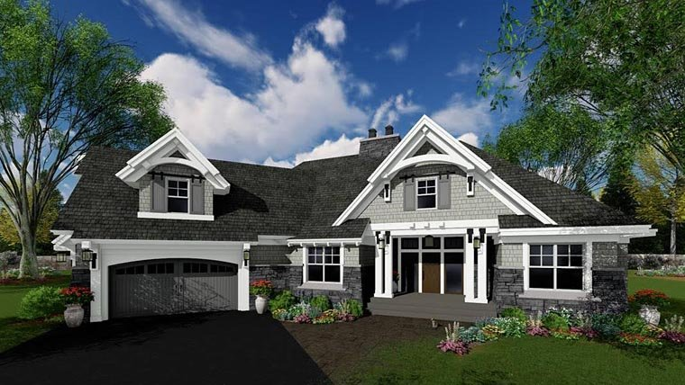 Bungalow, Cottage, Craftsman, French Country, Tudor House Plan 42679 with 4 Beds, 3 Baths, 2 Car Garage Picture 2