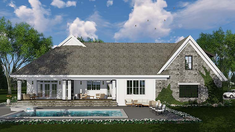 Bungalow, Cottage, Country, Craftsman, Farmhouse, Traditional House Plan 42685 with 3 Beds, 3 Baths, 2 Car Garage Rear Elevation