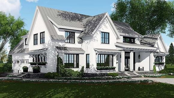 Country, Farmhouse, Southern, Traditional House Plan 42687 with 4 Beds, 5 Baths, 3 Car Garage Elevation
