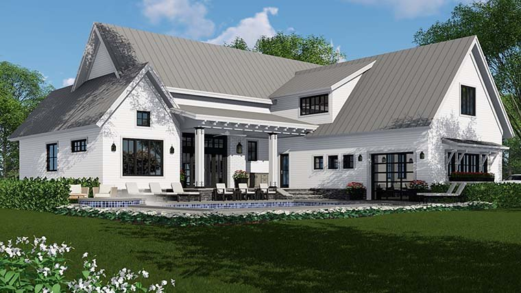 Country, Farmhouse, Southern, Traditional House Plan 42687 with 4 Beds, 5 Baths, 3 Car Garage Rear Elevation