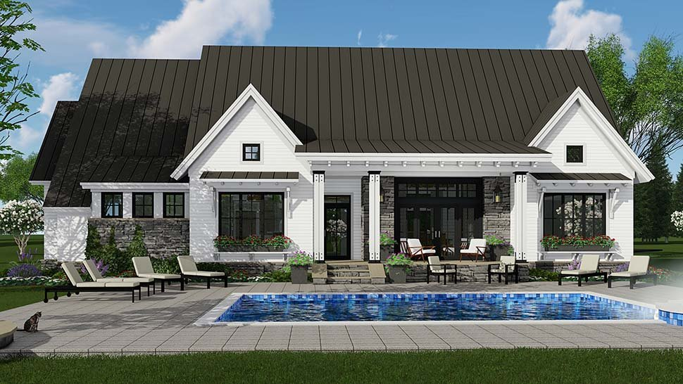 Bungalow, Cottage, Craftsman, Ranch House Plan 42689 with 3 Beds, 3 Baths, 2 Car Garage Rear Elevation