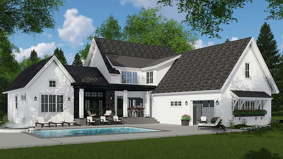 Country, Farmhouse House Plan 42693 with 4 Beds, 4 Baths, 3 Car Garage Rear Elevation