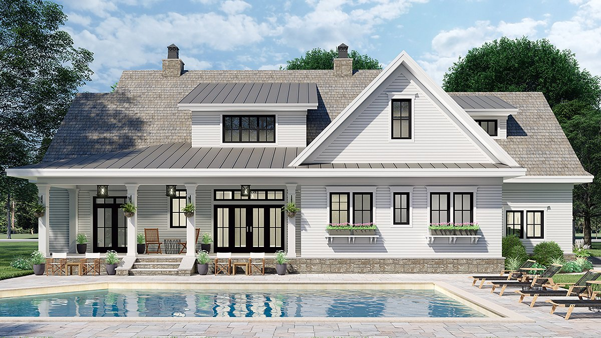 Country House Plan 42699 with 4 Beds, 4 Baths, 2 Car Garage Rear Elevation