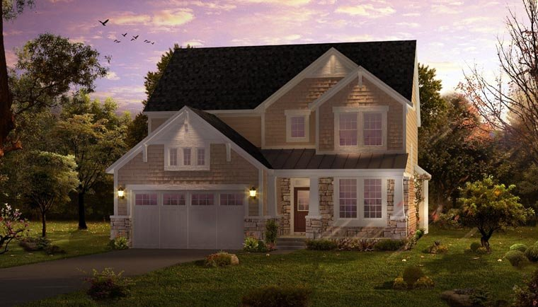 Cottage, Country, Craftsman, Farmhouse, Traditional House Plan 42827 with 4 Beds, 3 Baths, 2 Car Garage Elevation