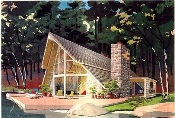 A-Frame, Cabin, Contemporary House Plan 43048 with 3 Beds, 2 Baths Elevation