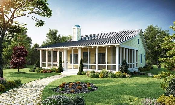 Cabin, Cottage House Plan 43203 with 2 Beds, 2 Baths Elevation