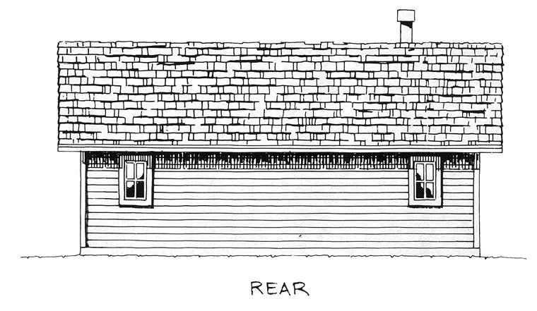 Cabin, Cottage House Plan 43203 with 2 Beds, 2 Baths Rear Elevation