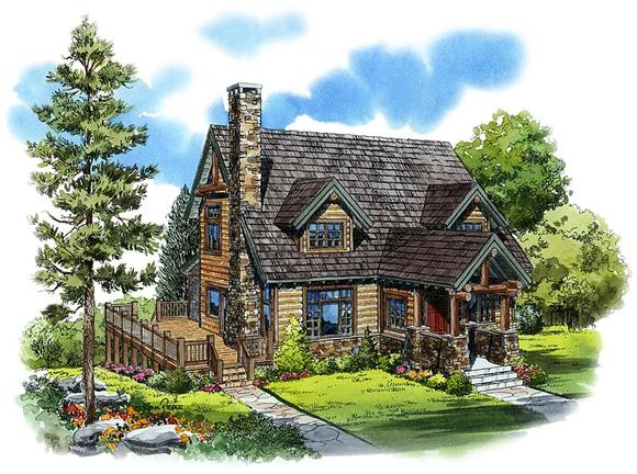 Cabin, Cape Cod, Country House Plan 43206 with 3 Beds, 3 Baths Elevation
