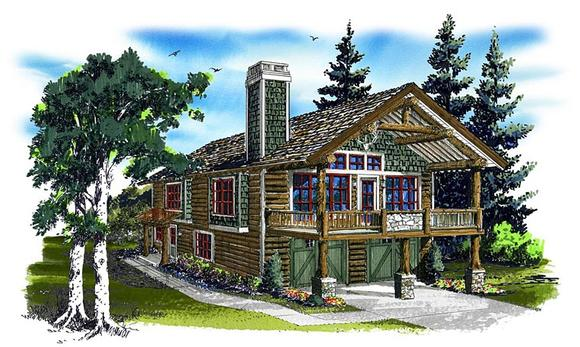Cabin, Log House Plan 43209 with 1 Beds, 1 Baths, 2 Car Garage Elevation