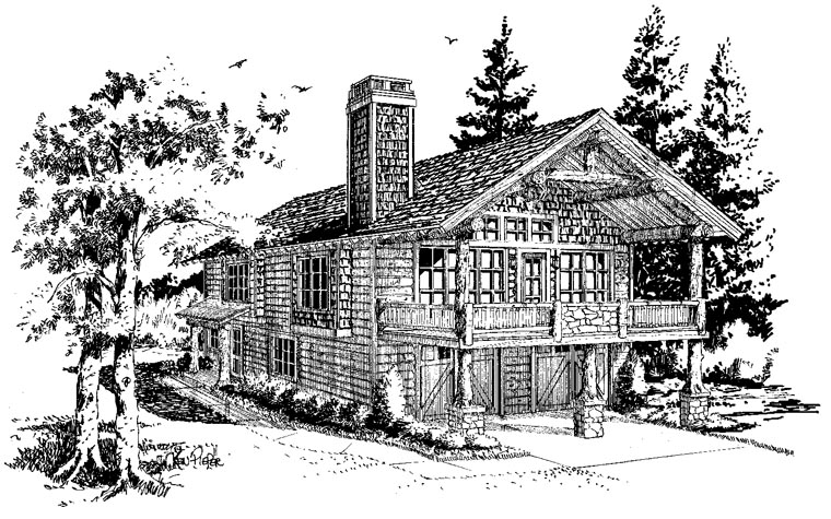 Cabin, Log House Plan 43209 with 1 Beds, 1 Baths, 2 Car Garage Picture 4