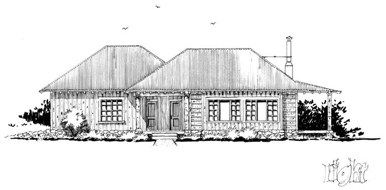 Country, Ranch House Plan 43215 with 1 Beds, 1 Baths, 2 Car Garage Picture 2