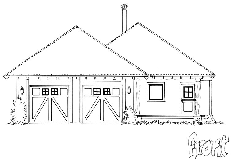 Country, Ranch House Plan 43215 with 1 Beds, 1 Baths, 2 Car Garage Picture 3