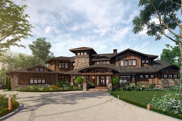 Bungalow, Contemporary, Craftsman House Plan 43225 with 4 Beds, 5 Baths, 4 Car Garage Elevation