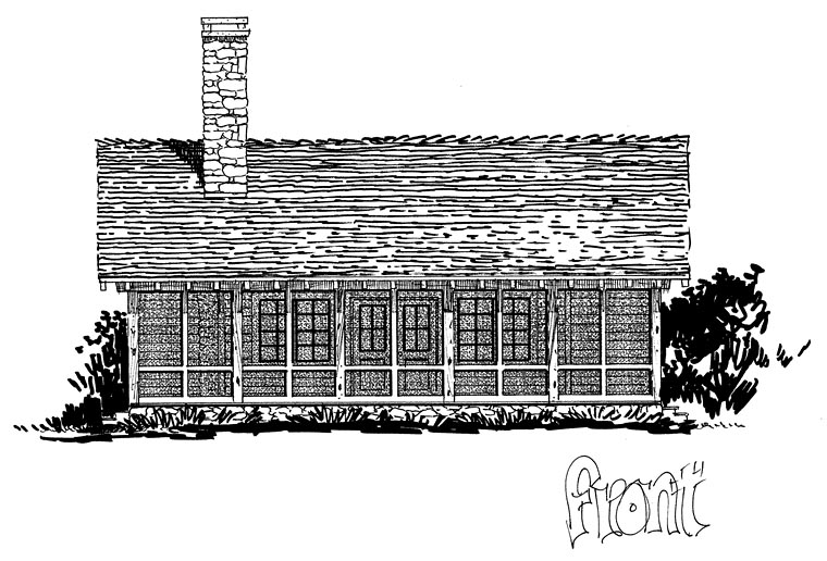 Cabin, Country, Ranch, Southern House Plan 43227 with 2 Beds, 2 Baths Elevation