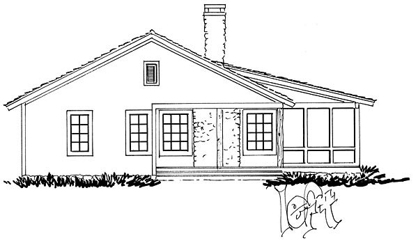 Cabin, Country, Ranch, Southern House Plan 43227 with 2 Beds, 2 Baths Picture 1