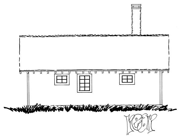 Cabin, Country, Ranch, Southern House Plan 43227 with 2 Beds, 2 Baths Rear Elevation