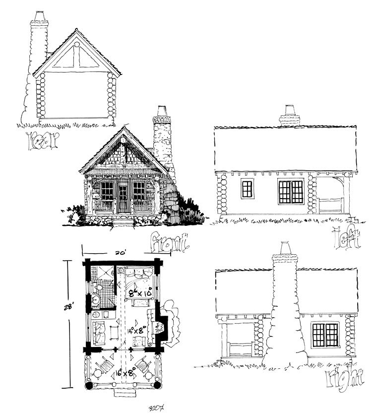 Cabin, Country, Craftsman, Log House Plan 43229 with 1 Beds, 1 Baths Rear Elevation