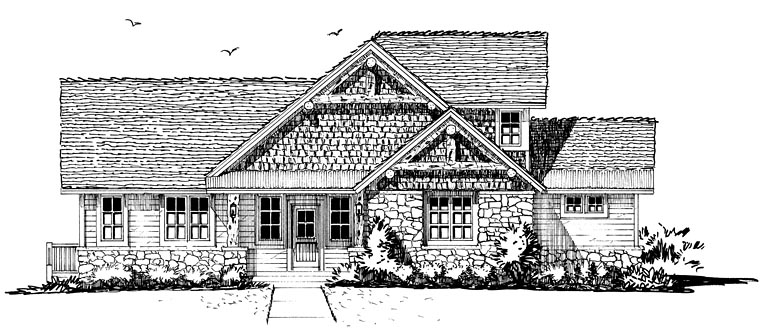 Bungalow, Cottage, Country, Craftsman House Plan 43235 with 3 Beds, 3 Baths Picture 1