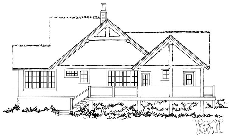 Bungalow, Cottage, Country, Craftsman House Plan 43235 with 3 Beds, 3 Baths Rear Elevation