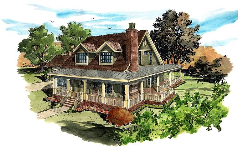 Country, Farmhouse, Southern House Plan 43237 with 4 Beds, 4 Baths, 2 Car Garage Elevation