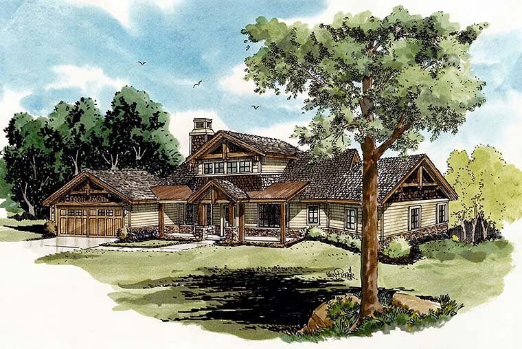 Cottage, Country, Craftsman House Plan 43238 with 3 Beds, 3 Baths, 3 Car Garage Elevation