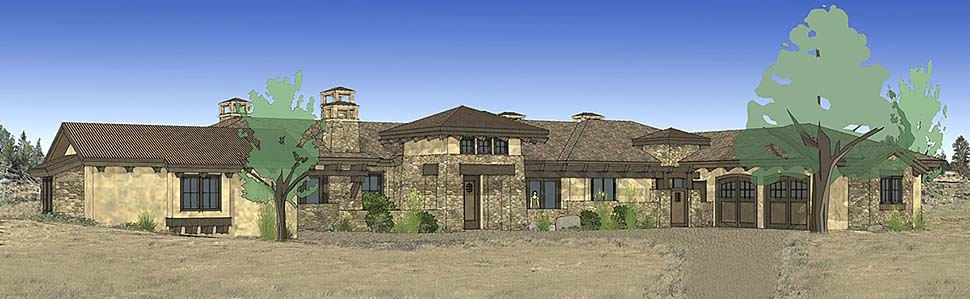 Tuscan House Plan 43309 with 3 Beds, 4 Baths, 3 Car Garage Elevation