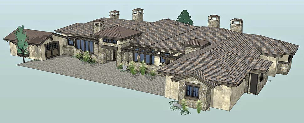 Tuscan House Plan 43309 with 3 Beds, 4 Baths, 3 Car Garage Picture 1