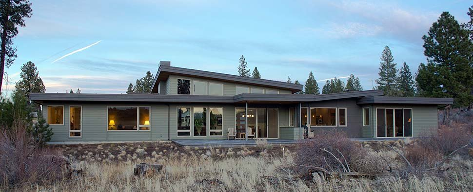 Contemporary, Modern House Plan 43314 with 3 Beds, 4 Baths, 2 Car Garage Rear Elevation