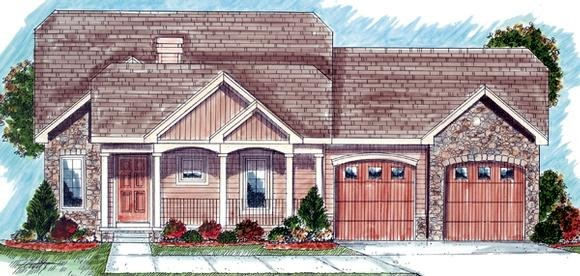Bungalow, One-Story, Traditional House Plan 44030 with 2 Beds, 2 Baths, 2 Car Garage Elevation