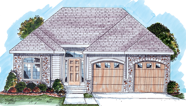 One-Story, Traditional House Plan 44034 with 2 Beds, 2 Baths, 2 Car Garage Elevation