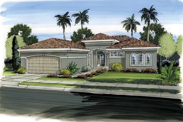 Florida, Mediterranean, One-Story, Southwest House Plan 44091 with 3 Beds, 2 Baths, 2 Car Garage Elevation