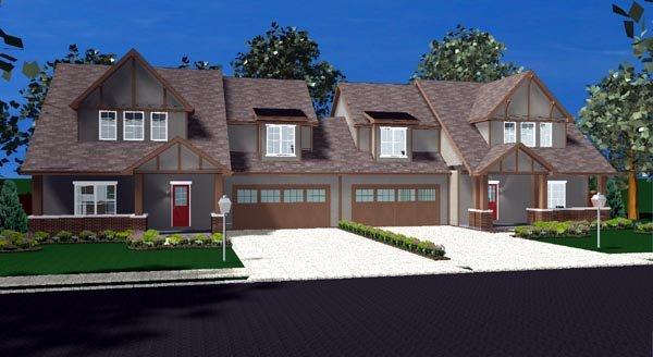 Bungalow, Tudor Multi-Family Plan 44105 with 8 Beds, 6 Baths, 4 Car Garage Elevation