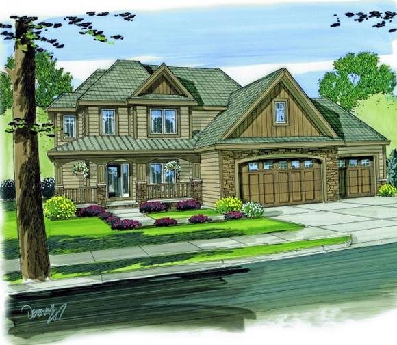 Country House Plan 44125 with 4 Beds, 3 Baths, 3 Car Garage Elevation