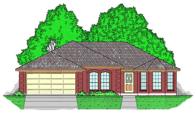Ranch, Southern, Traditional House Plan 44172 with 3 Beds, 2 Baths, 2 Car Garage Elevation