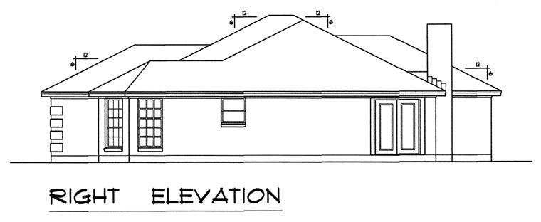 Ranch, Southern, Traditional House Plan 44172 with 3 Beds, 2 Baths, 2 Car Garage Picture 2