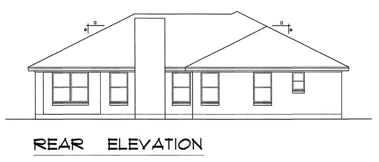 Ranch, Southern, Traditional House Plan 44172 with 3 Beds, 2 Baths, 2 Car Garage Rear Elevation