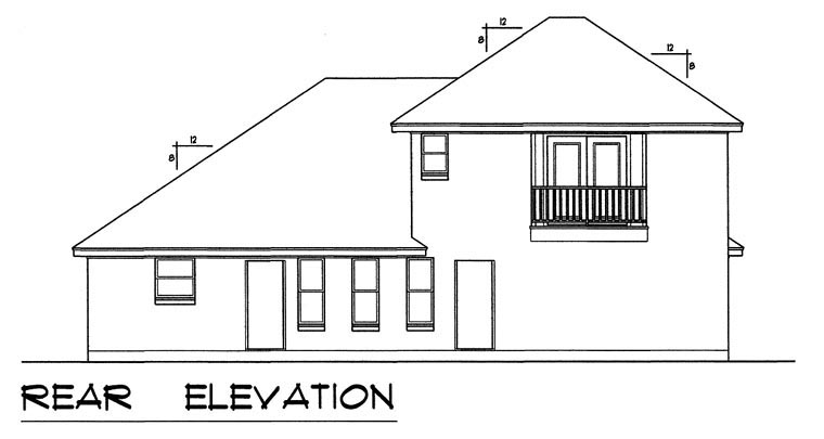 European, Traditional House Plan 44173 with 3 Beds, 2 Baths, 2 Car Garage Rear Elevation