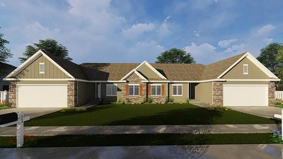 Country, Ranch, Traditional Multi-Family Plan 44182 with 6 Beds, 4 Baths, 4 Car Garage Elevation