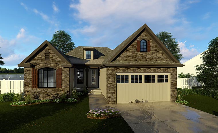 Cottage, European, Traditional House Plan 44184 with 3 Beds, 2 Baths, 2 Car Garage Elevation