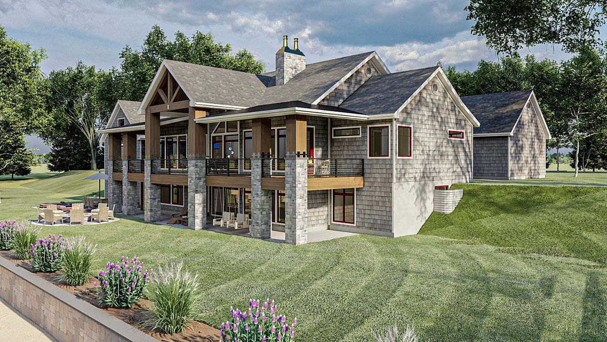 Bungalow, Cottage, Craftsman House Plan 44187 with 2 Beds, 3 Baths, 4 Car Garage Picture 2