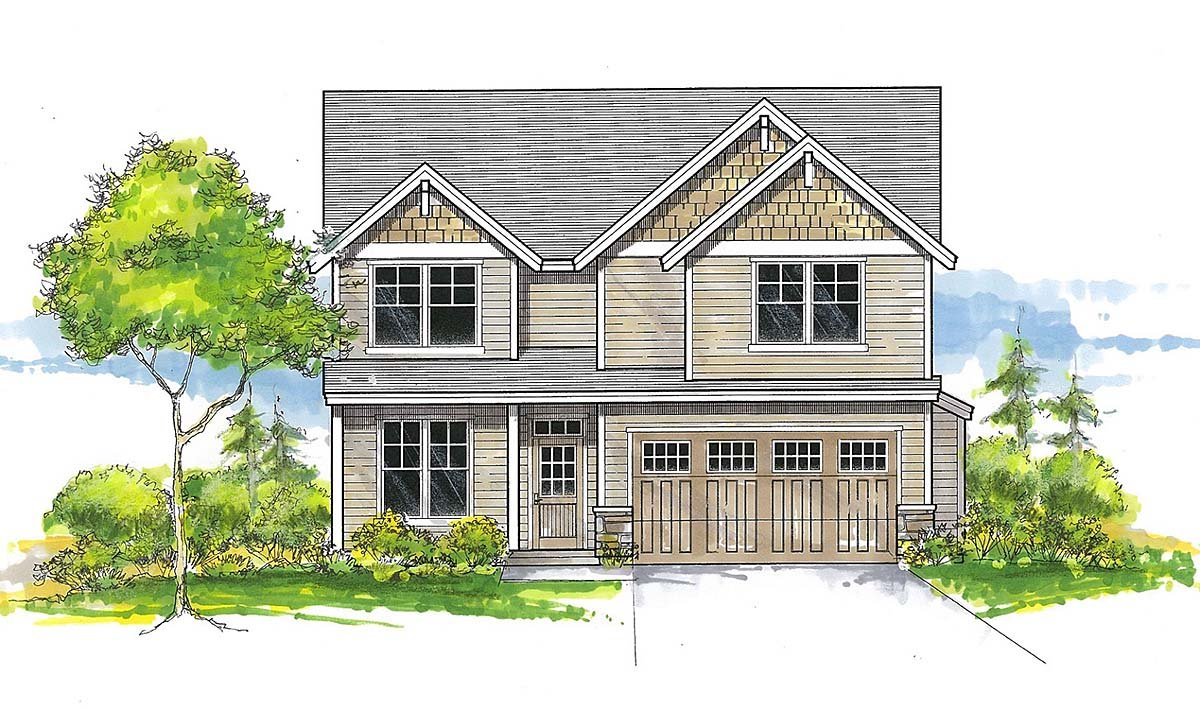 Craftsman, Traditional House Plan 44402 with 4 Beds, 3 Baths, 2 Car Garage Elevation