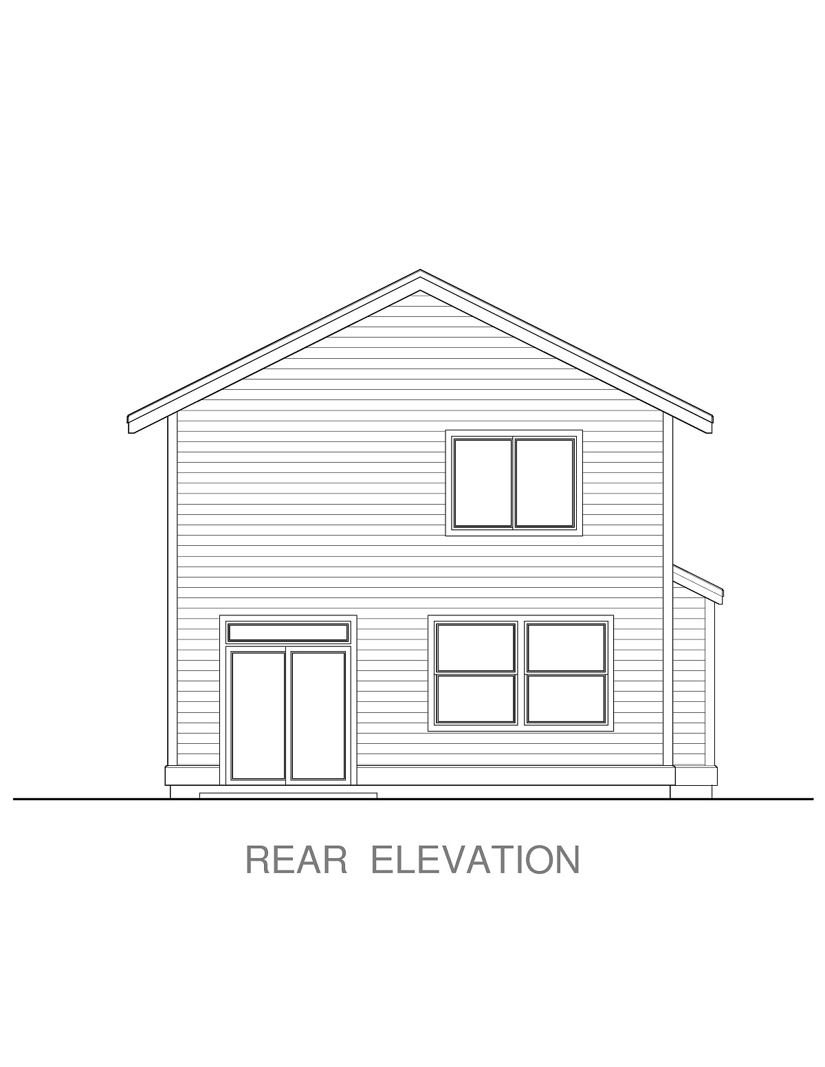Craftsman, Traditional House Plan 44403 with 4 Beds, 3 Baths, 2 Car Garage Rear Elevation