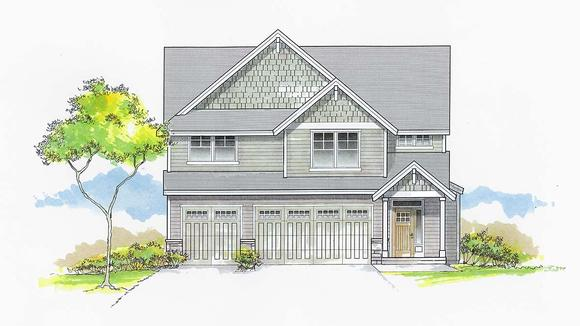 Craftsman, Traditional House Plan 44404 with 5 Beds, 3 Baths, 3 Car Garage Elevation